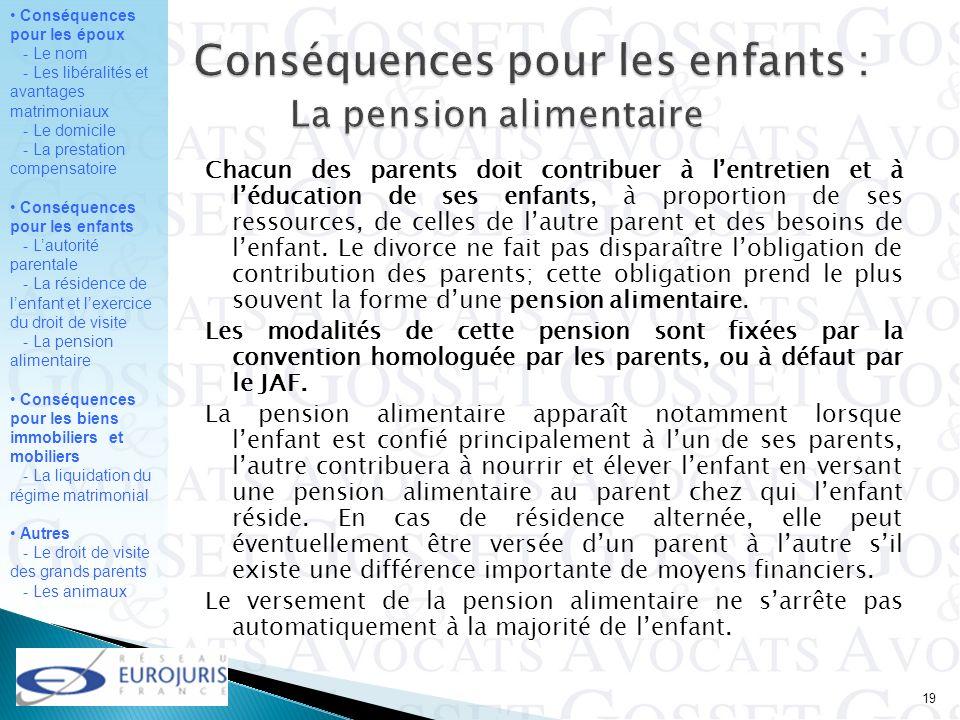 Conséquences pour les enfants : La pension alimentaire