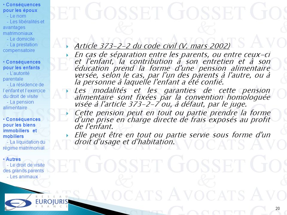 Article 373-2-2 du code civil (V. mars 2002)