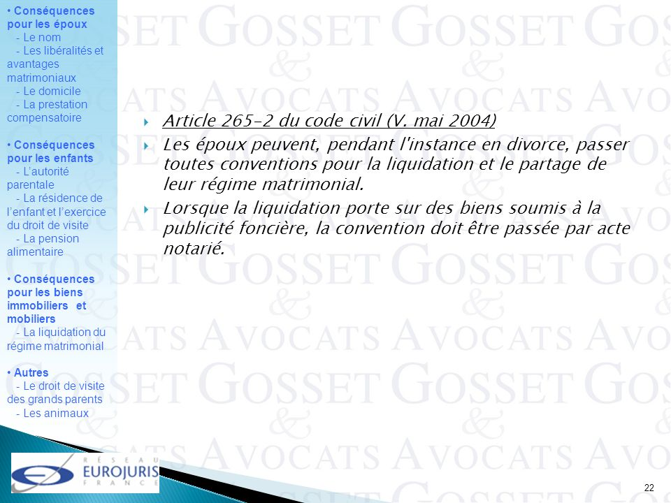 Article 265-2 du code civil (V. mai 2004)