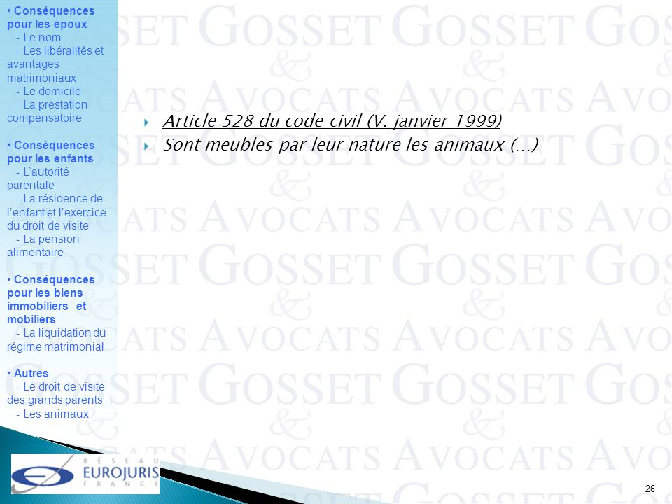 Article 528 du code civil (V. janvier 1999)