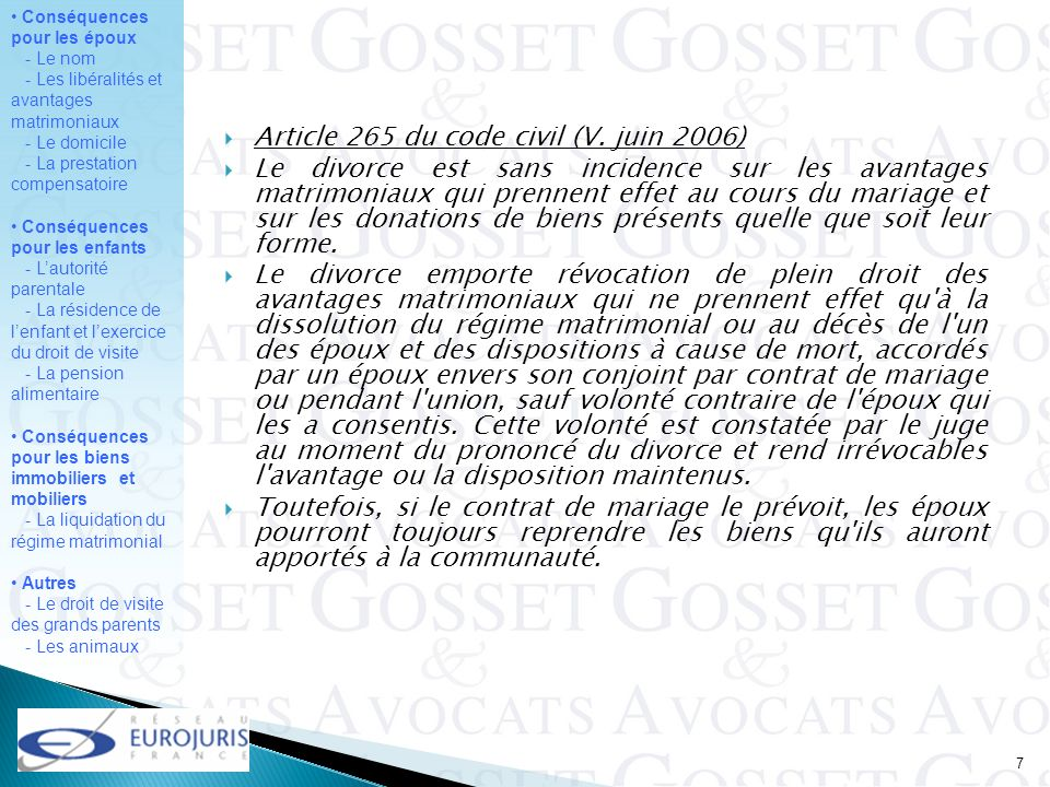 Article 265 du code civil (V. juin 2006)