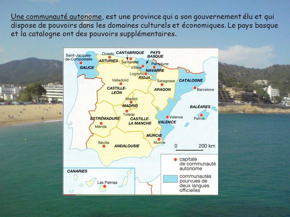 Une communauté autonome, est une province qui a son gouvernement élu et qui