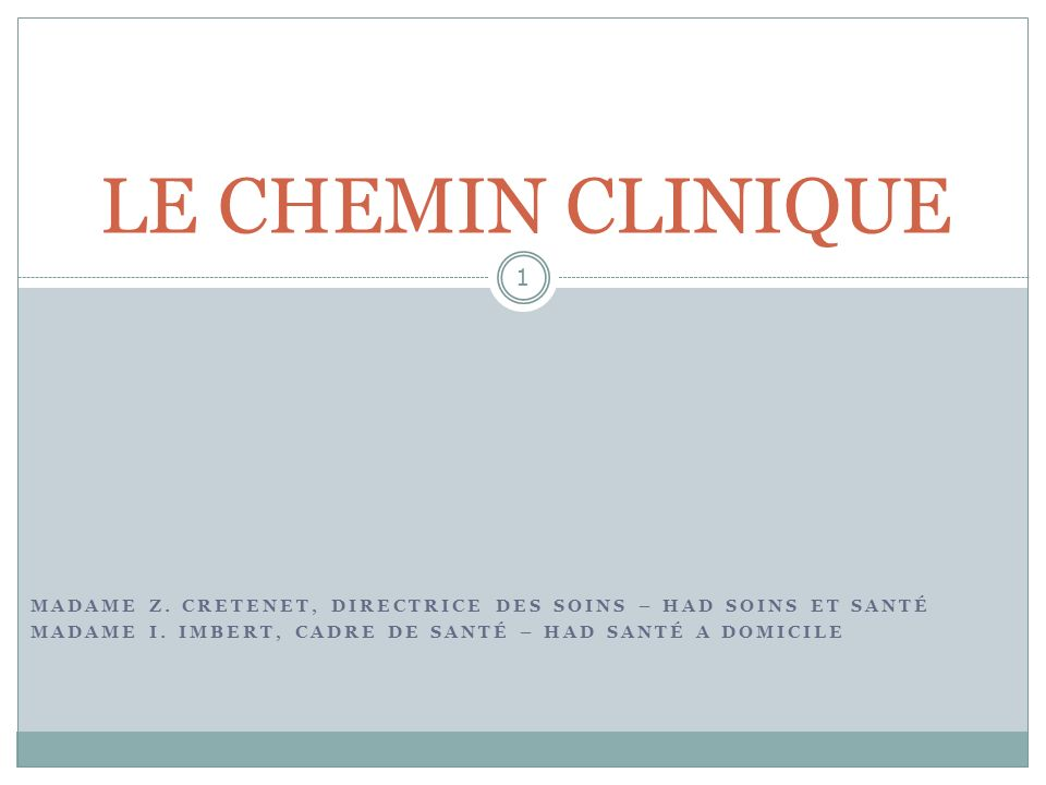 LE CHEMIN CLINIQUEMadame Z.CRETENET, Directrice des Soins – HAD Soins et Santé.