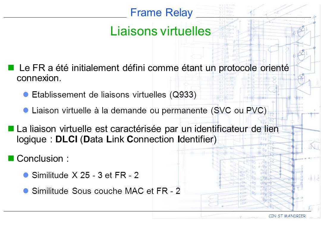 Liaisons virtuelles Le FR a été initialement défini comme étant un protocole orienté connexion. Etablissement de liaisons virtuelles (Q933)