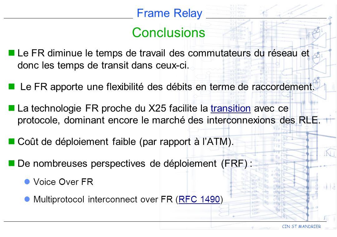Conclusions Le FR diminue le temps de travail des commutateurs du réseau et donc les temps de transit dans ceux-ci.