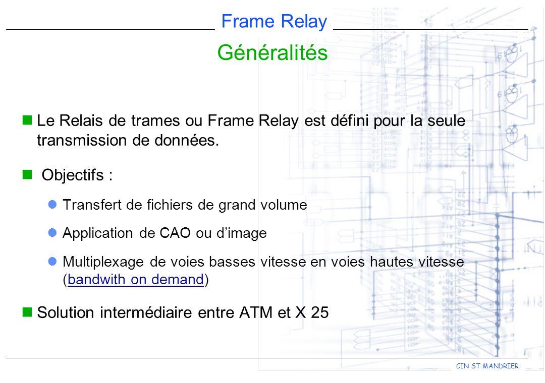 Généralités Le Relais de trames ou Frame Relay est défini pour la seule transmission de données. Objectifs :