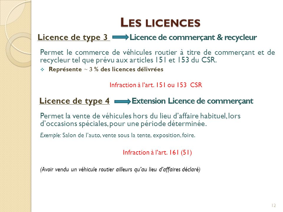 Infraction à l'art. 151 ou 153 CSR