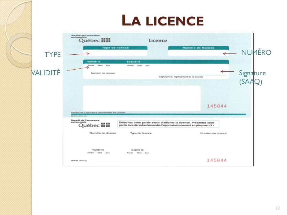 La licence NUMÉRO TYPE VALIDITÉ Signature (SAAQ)