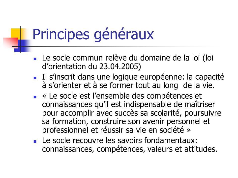 Principes généraux Le socle commun relève du domaine de la loi (loi d'orientation du 23.04.2005)