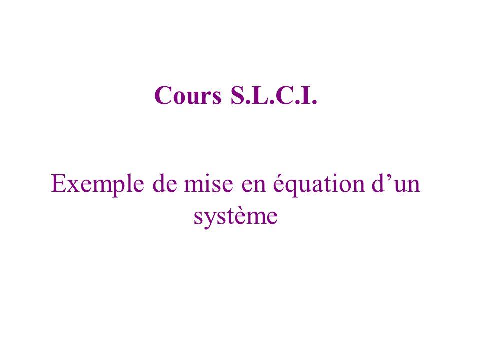 Exemple de mise en équation d'un système