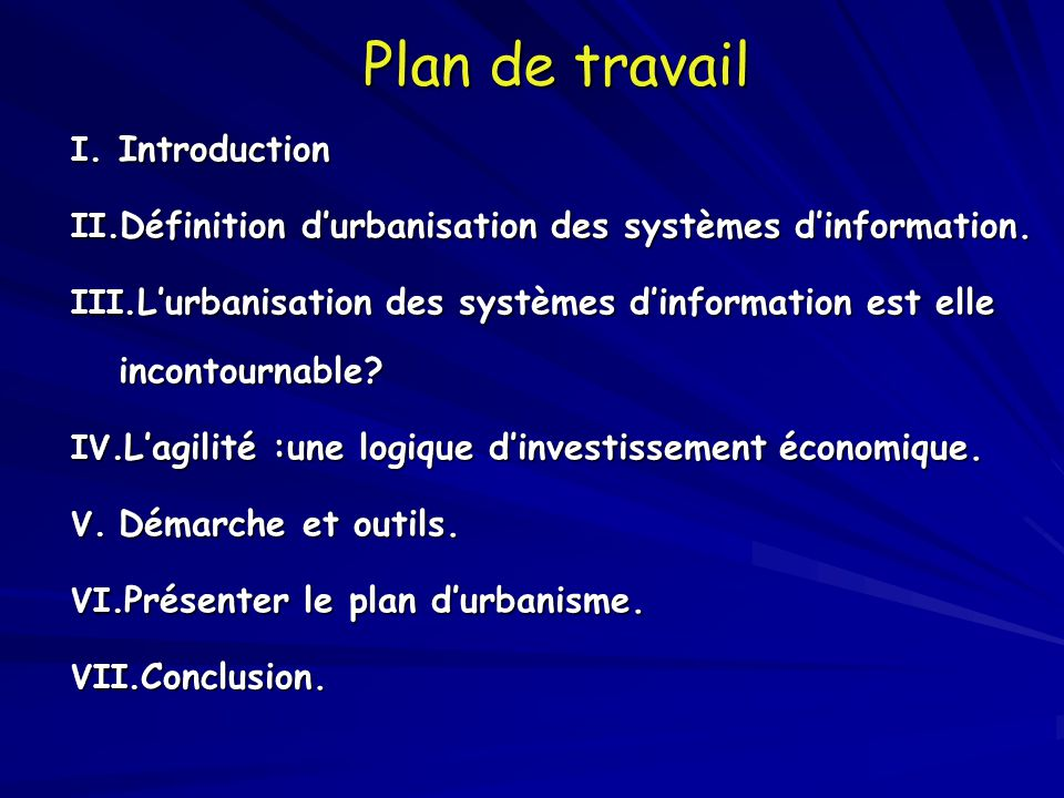 Plan de travail Introduction