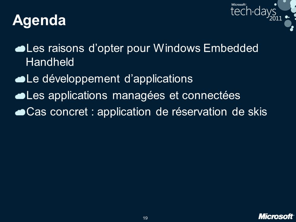 Agenda Les raisons d'opter pour Windows Embedded Handheld