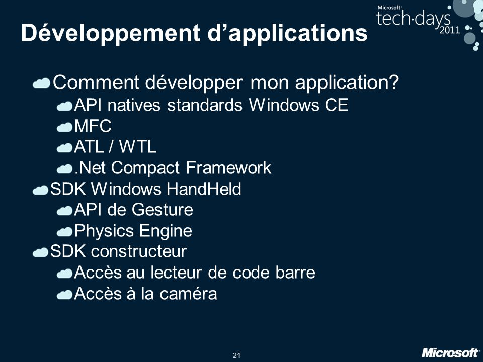Développement d'applications