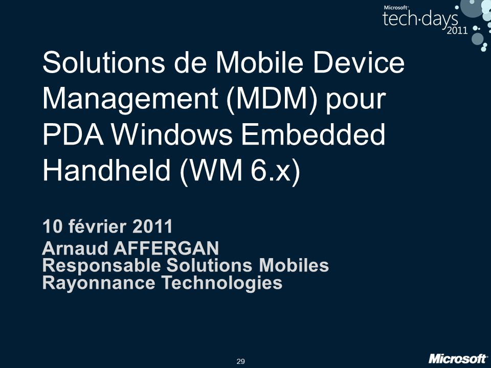 Solutions de Mobile Device Management (MDM) pour PDA Windows Embedded Handheld (WM 6.x)