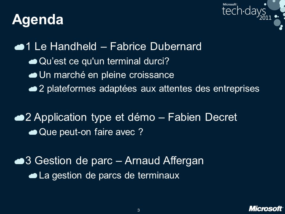 Agenda 1 Le Handheld – Fabrice Dubernard