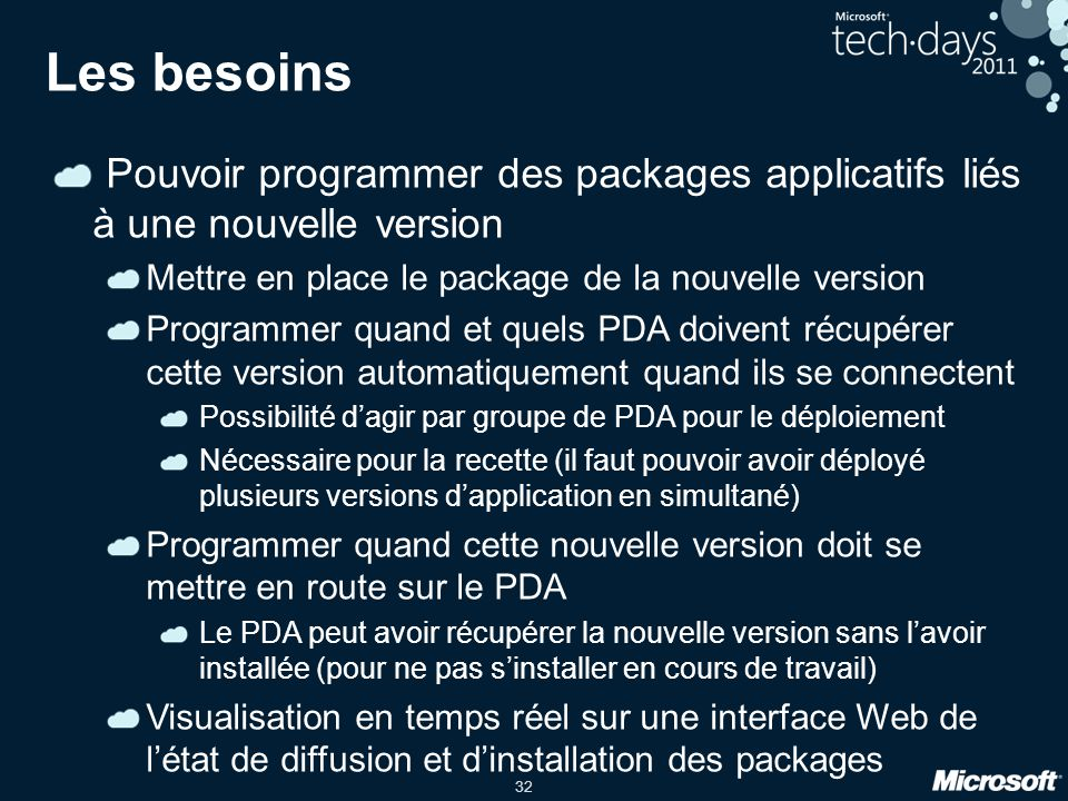 Les besoins Pouvoir programmer des packages applicatifs liés à une nouvelle version. Mettre en place le package de la nouvelle version.
