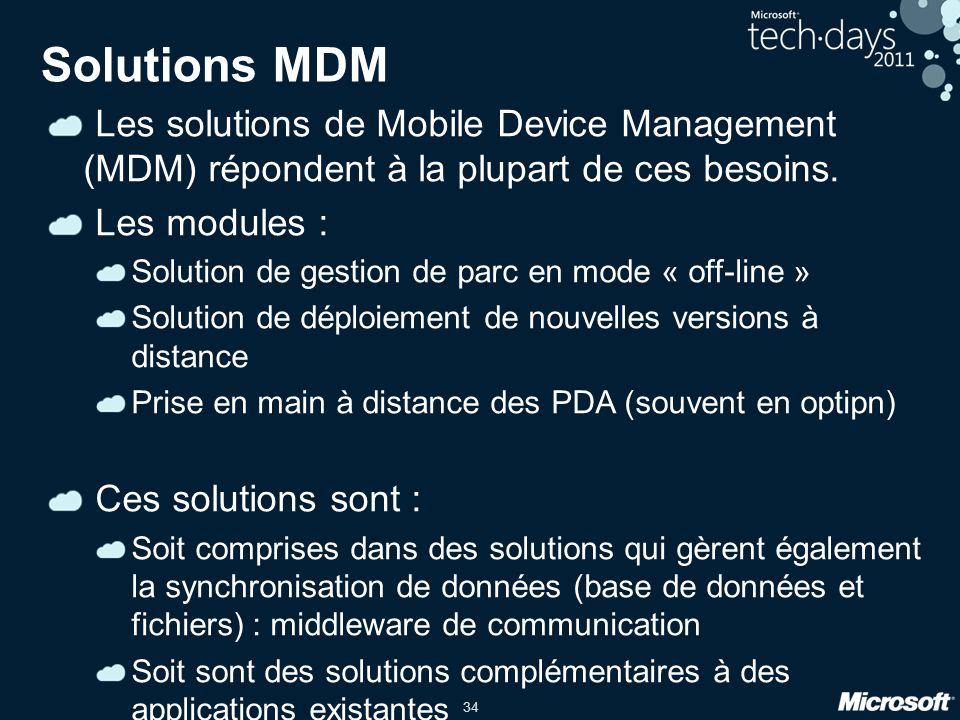 Solutions MDM Les solutions de Mobile Device Management (MDM) répondent à la plupart de ces besoins.