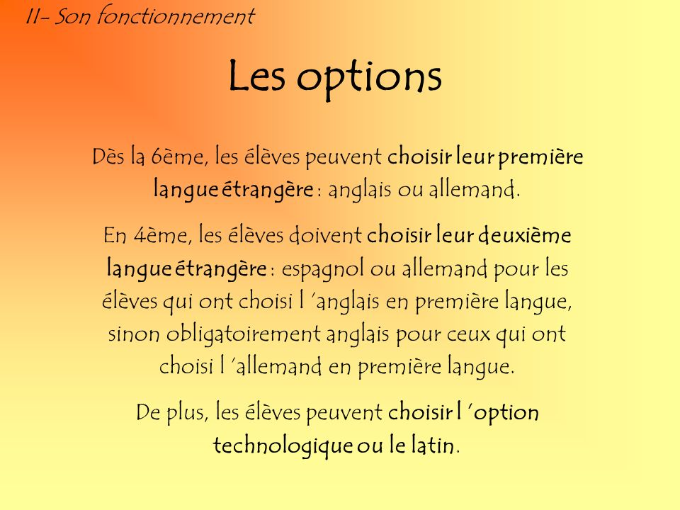 Les options II- Son fonctionnement