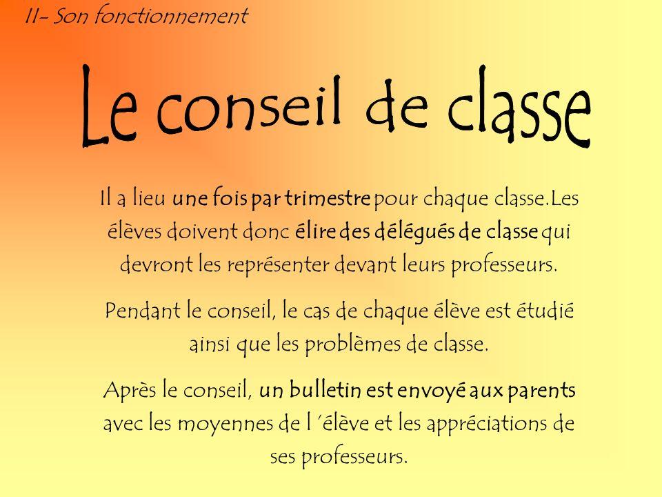 Le conseil de classe II- Son fonctionnement