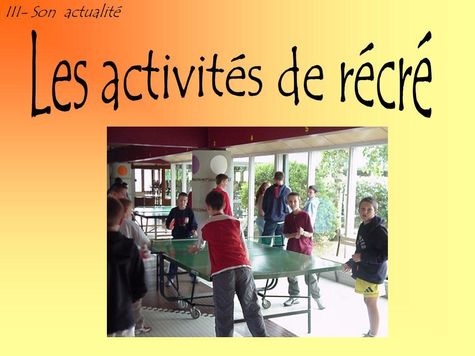 III- Son actualité Les activités de récré