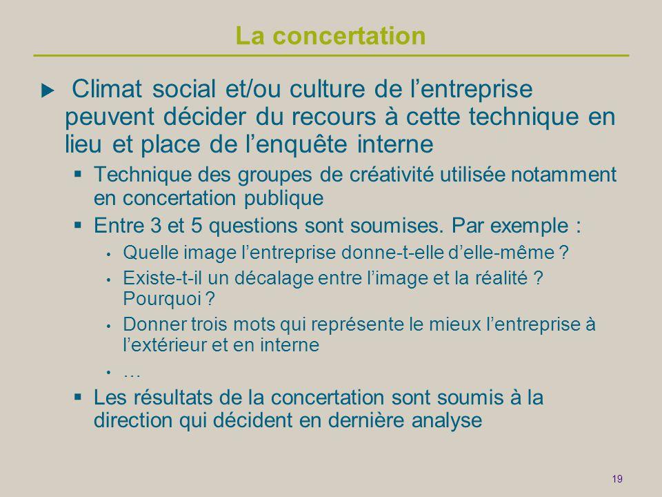 La concertation Climat social et/ou culture de l'entreprise peuvent décider du recours à cette technique en lieu et place de l'enquête interne.