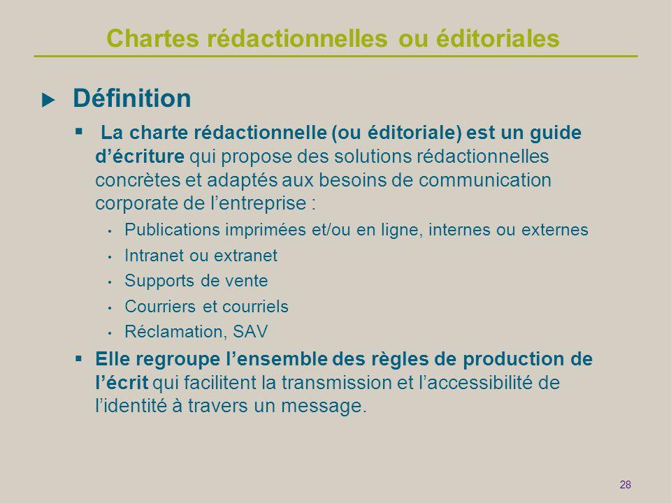 Chartes rédactionnelles ou éditoriales