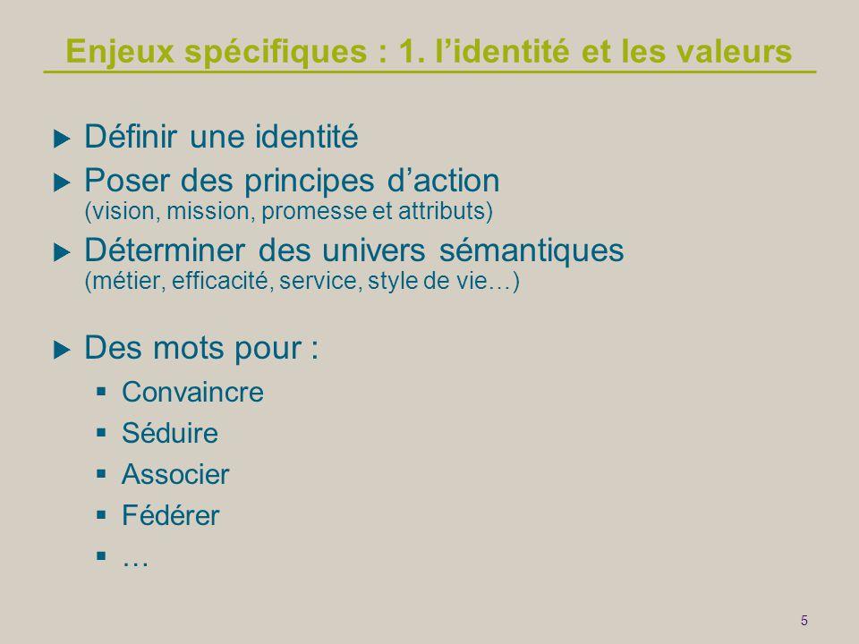 Enjeux spécifiques : 1. l'identité et les valeurs