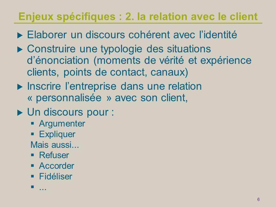 Enjeux spécifiques : 2. la relation avec le client