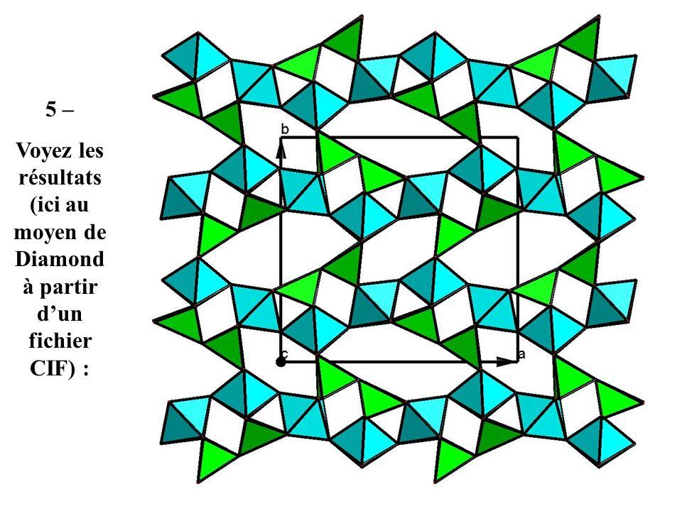 5 – Voyez les résultats (ici au moyen de Diamond à partir d'un fichier CIF) :