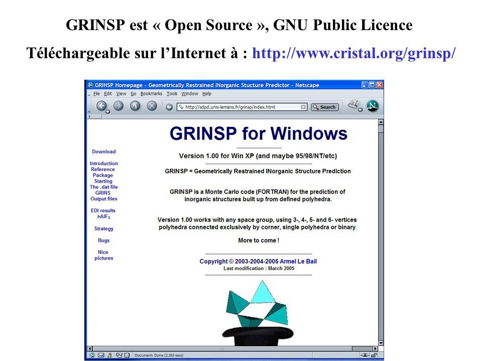 GRINSP est « Open Source », GNU Public Licence
