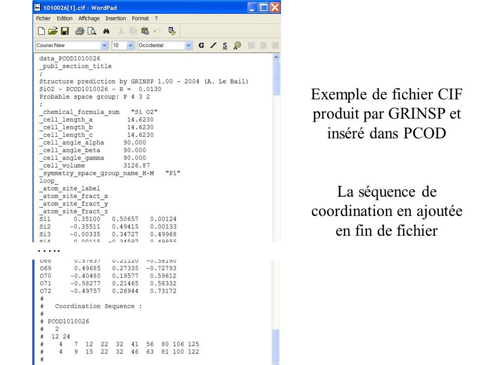 Exemple de fichier CIF produit par GRINSP et inséré dans PCOD