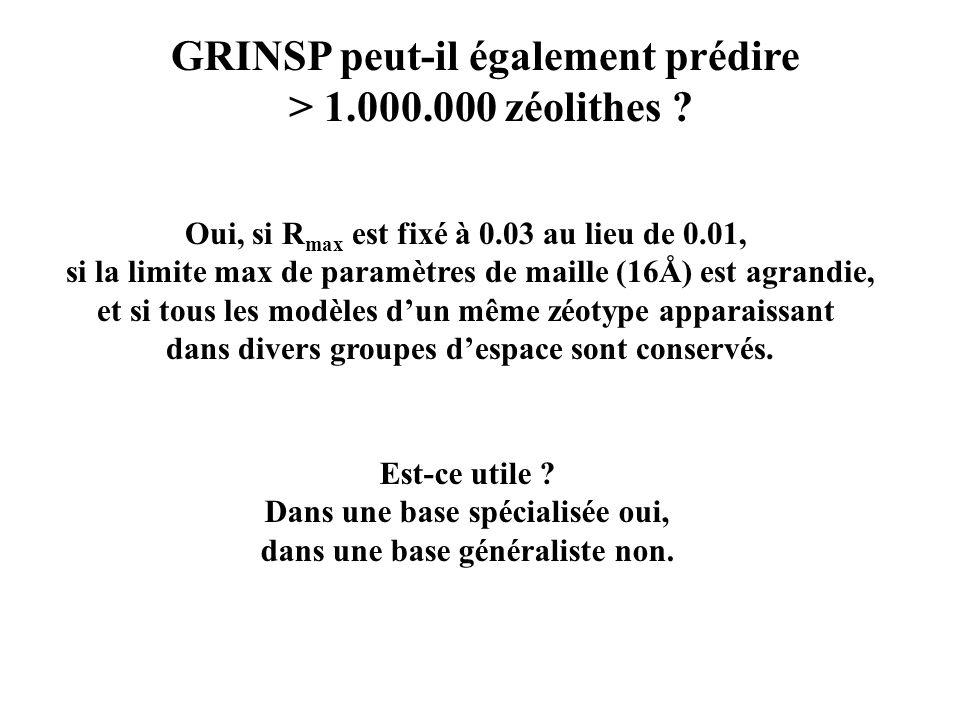 GRINSP peut-il également prédire > 1.000.000 zéolithes