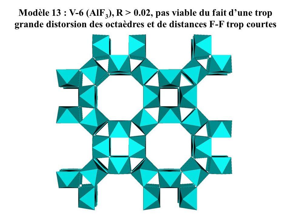 Modèle 13 : V-6 (AlF3), R > 0.02, pas viable du fait d'une trop grande distorsion des octaèdres et de distances F-F trop courtes