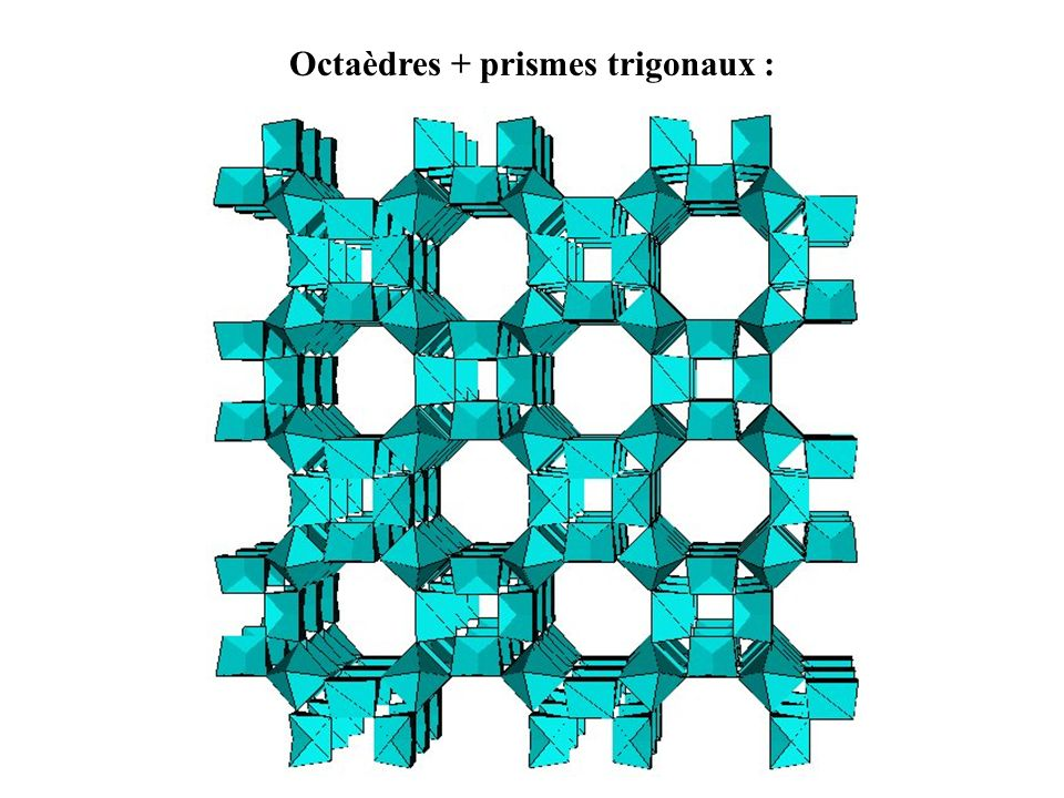 Octaèdres + prismes trigonaux :