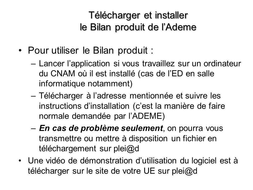 Télécharger et installer le Bilan produit de l'Ademe