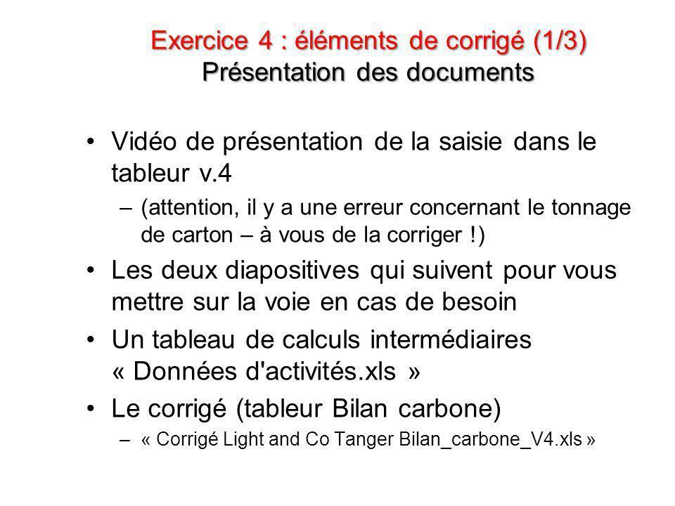 Exercice 4 : éléments de corrigé (1/3) Présentation des documents