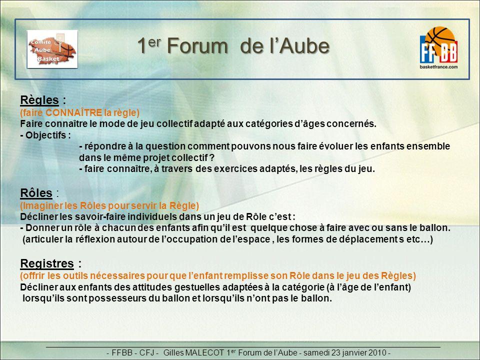 1er Forum de l'Aube Règles : Rôles : Registres :
