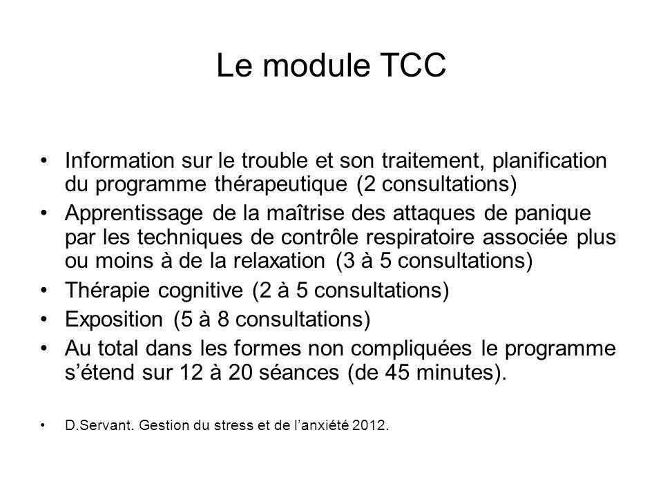 Le module TCC Information sur le trouble et son traitement, planification du programme thérapeutique (2 consultations)