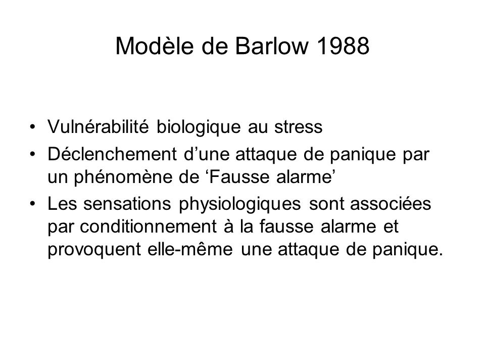 Modèle de Barlow 1988 Vulnérabilité biologique au stress