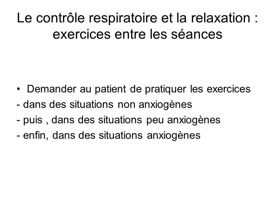Le contrôle respiratoire et la relaxation : exercices entre les séances