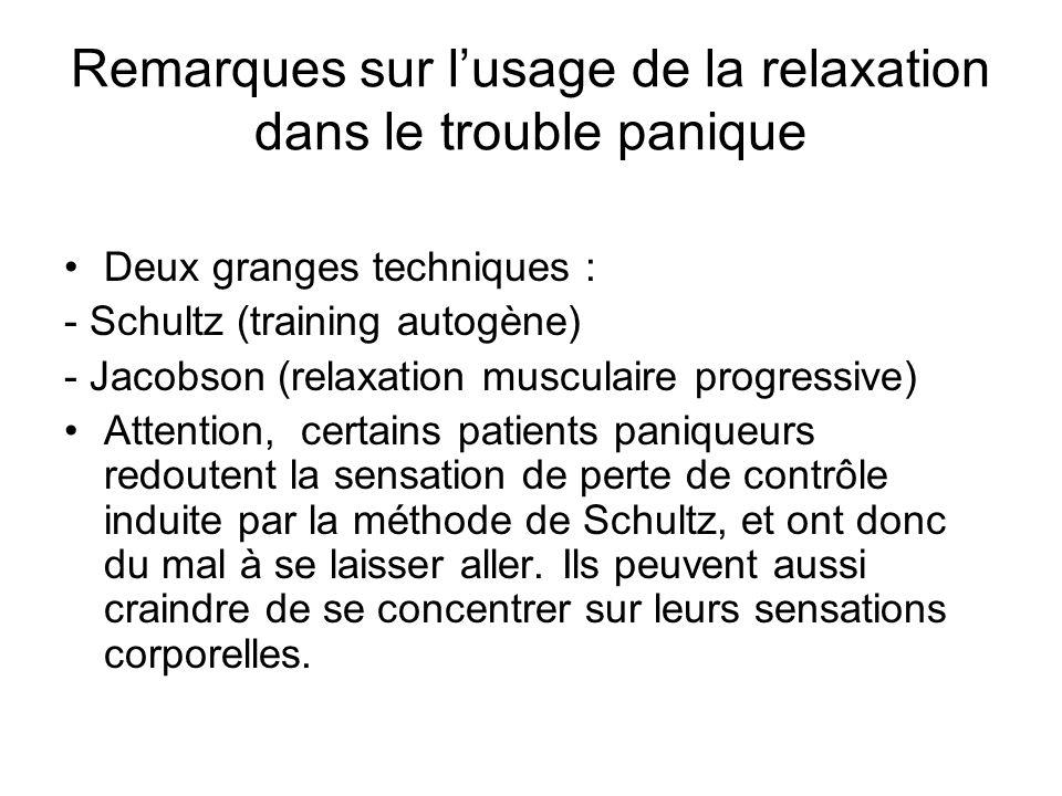 Remarques sur l'usage de la relaxation dans le trouble panique