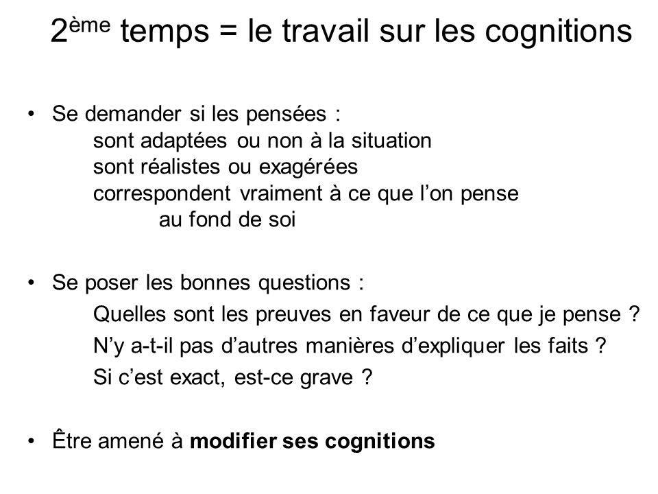 2ème temps = le travail sur les cognitions