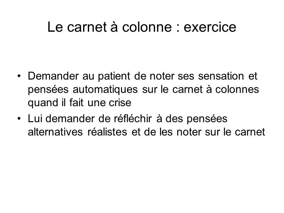 Le carnet à colonne : exercice