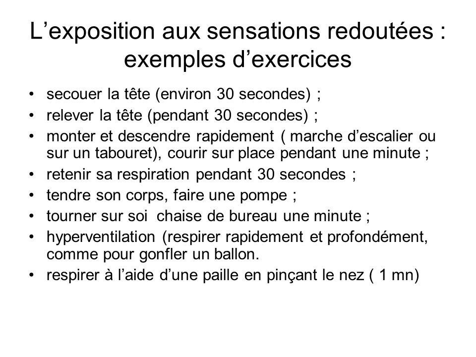 L'exposition aux sensations redoutées : exemples d'exercices