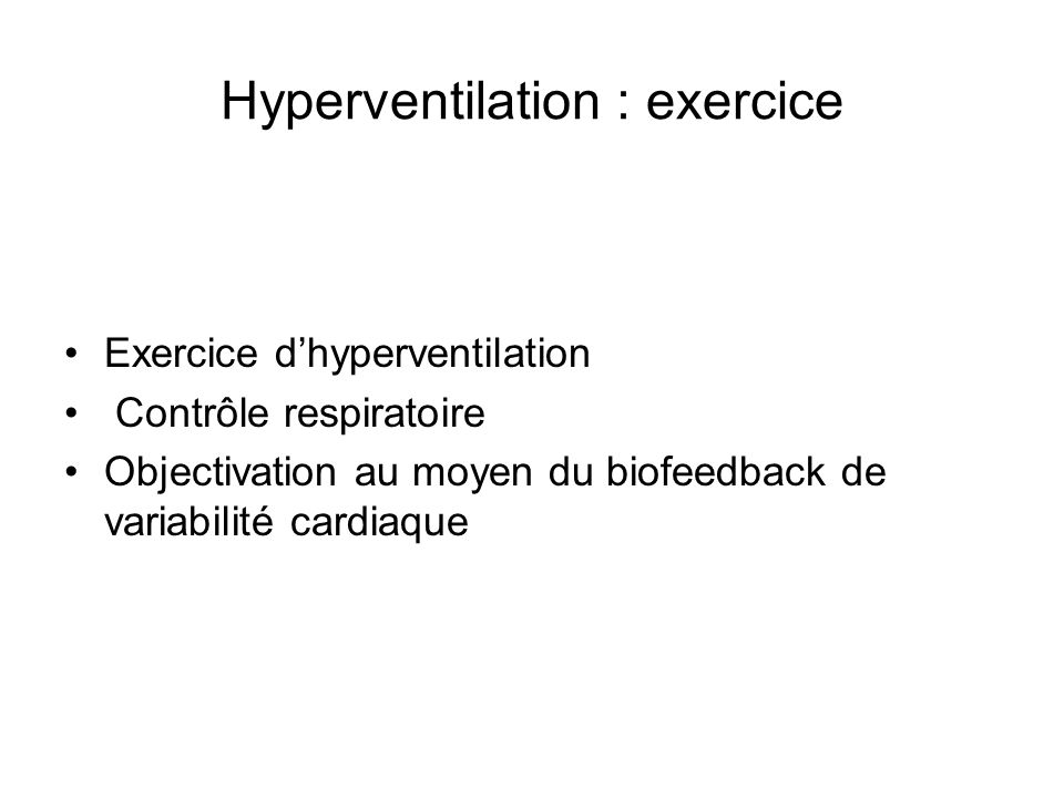 Hyperventilation : exercice