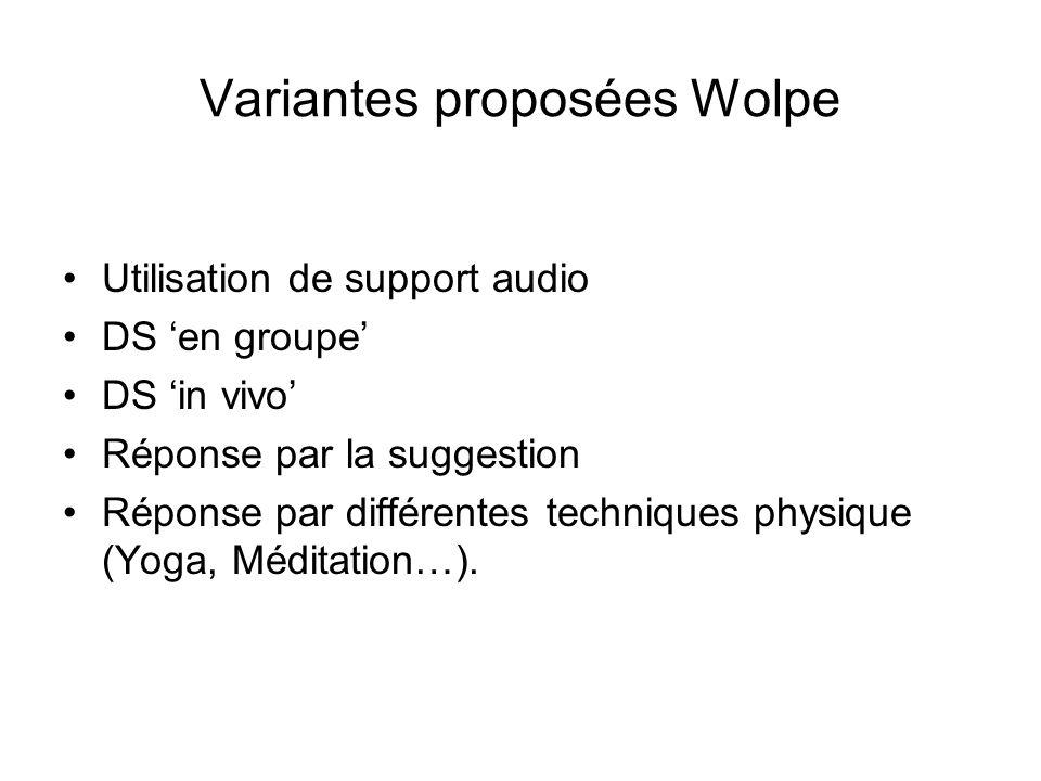 Variantes proposées Wolpe