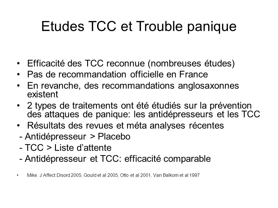 Etudes TCC et Trouble panique