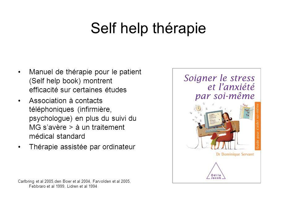 Self help thérapie Manuel de thérapie pour le patient (Self help book) montrent efficacité sur certaines études.
