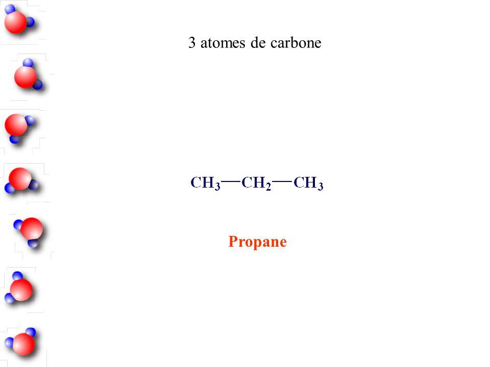 3 atomes de carbone Propane