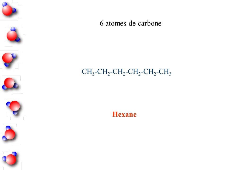 6 atomes de carbone CH3-CH2-CH2-CH2-CH2-CH3 Hexane